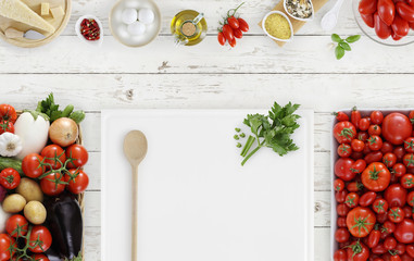 cooking concept food above, white cutting board with vegetables, tomatoes and food ingredients on kitchen white worktop, copy space, top view