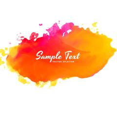 bright pink orange watercolor splash vector background