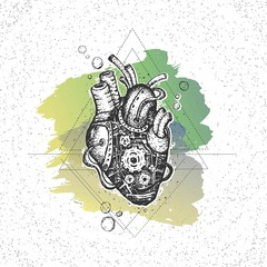 Illustration mechanical heart. Hand drawn vintage vector. Steampunk style.