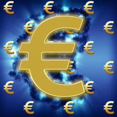 Golden European Currency symbol, in dark heavy storm, with some sunlight rays breaking through.