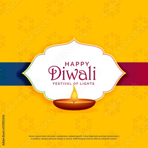 Yellow happy diwali greeting card design with diya stock image and yellow happy diwali greeting card design with diya m4hsunfo