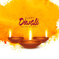 happy diwali vector background with orange watercolor