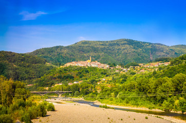 Fototapete - Summer panorama of Apennines mountains, Italy