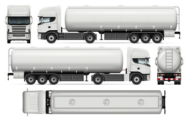 Tanker truck vector mock-up for car branding and advertising. Elements of corporate identity. Tank truck trailer template on white. All layers and groups well organized for easy editing and recolor.