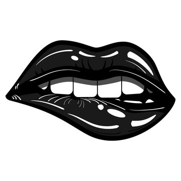 Sexy Black Lips Passionate Biting Isolated - Evil, Seduction