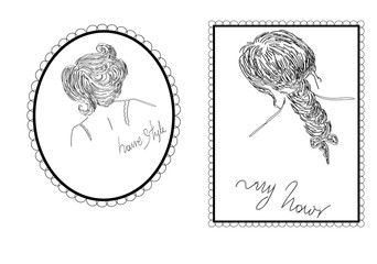 retro graphic design about woman hair