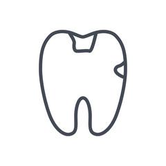dentist line icon tooth teeth caries