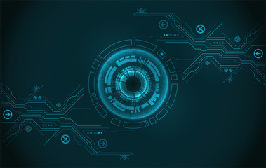 Abstract circle technology concept. Circuit board, high computer color background.