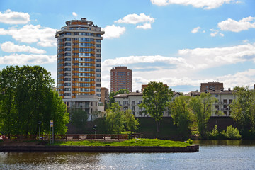 View of Khimki city from side of Moscow Canal. Russia.