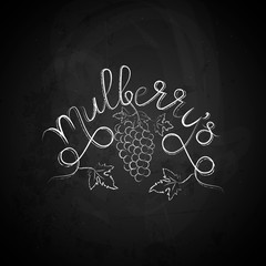 Mulberry hand draw lettering vector. Berry and leaves illustration on chalkboard. Organic healthy food. Great for banner, poster, label