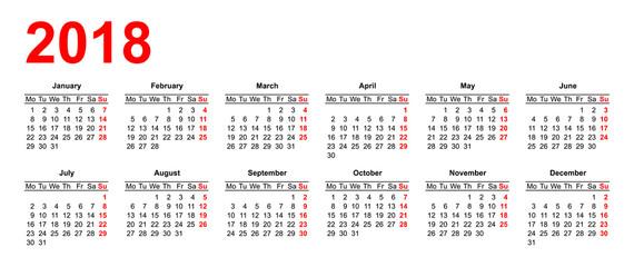 European calendar grid in vector