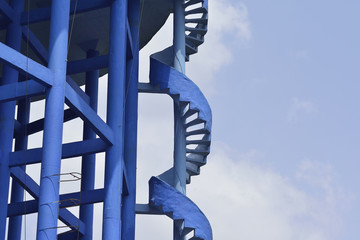Close up of Blue Spiral Staircase on Elevated Water Tank