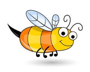 Cute Honeybee - handmade clip-art vector