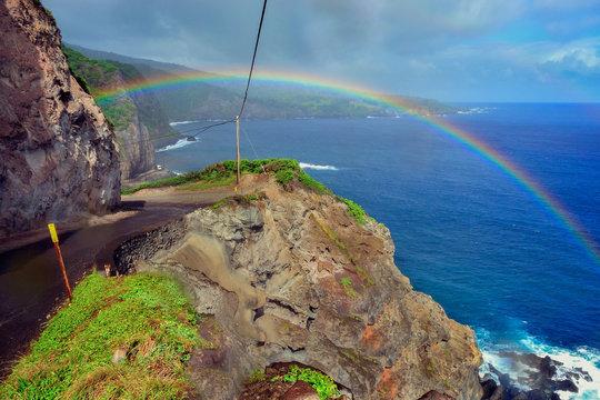 Hawaii Maui Hana coast road highway rainbow