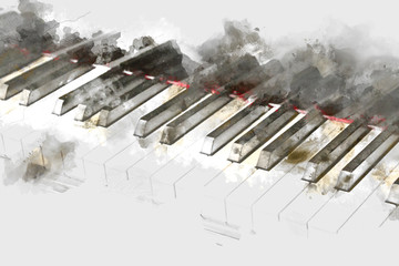 Piano keyboard on watercolor painting background.