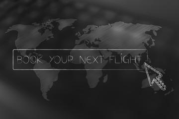 Book your next trip button with cursor about to click over world map overlay