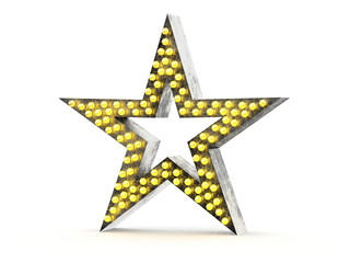 Retro metallic star with light bulbs on white background. 3d illustration