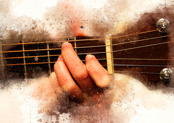 Abstract beautiful man playing Guitarist music Watercolor painting background and Digital illustration brush to art.