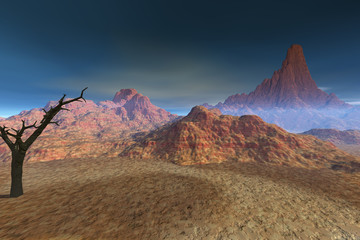 Desert, a rocky landscape, dry environment and a black tree, fog in the mountains and a blue sky.