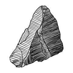 Rock stone. Black and white stone and rock in hand drawn hatching, wood carve style. Big boulder. Vector.