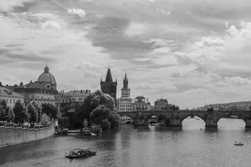 Prague, Czech Republic. Black and white photo