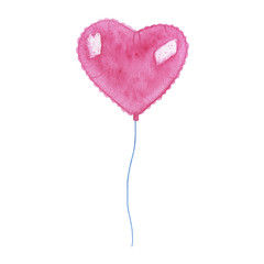 Watercolor hand painted heart air balloon isolated on white background