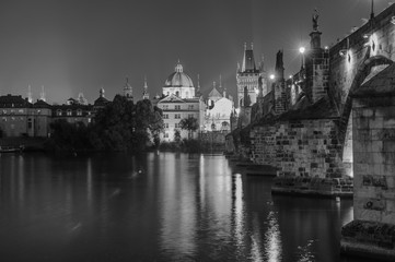 Night Prague, Czech Republic. Black and white photo
