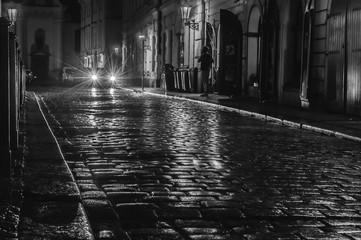 Prague, Czech Republic. Night streets. Black and white photo