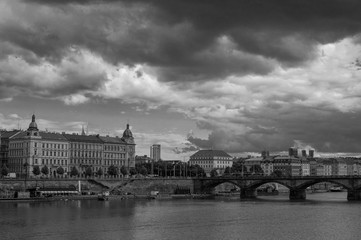 Prague, Czech Republic. Black and white photo
