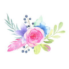 Watercolor hand painted flower wedding bouquet and leaves isolated on white background