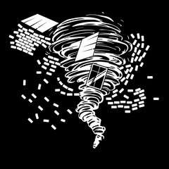 Black and white drawing of a destructive tornado that draws the ruined brick house