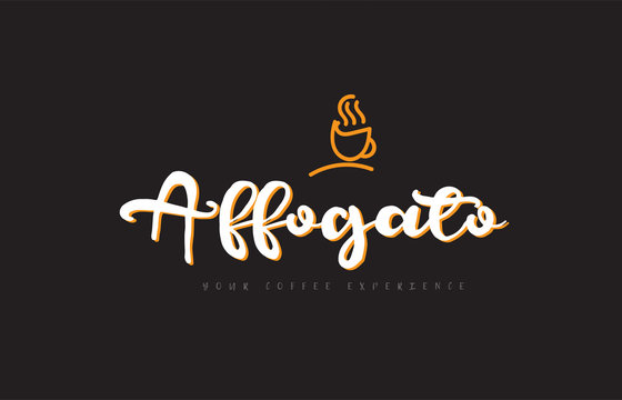 affogato word text logo with coffee cup symbol idea typography