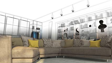 Camera da letto con libreria, sala e divano openspace, lusso, illustrazione 3d, rendering 3d