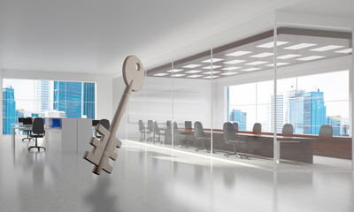 Conceptual background image of concrete key sign in modern office interior