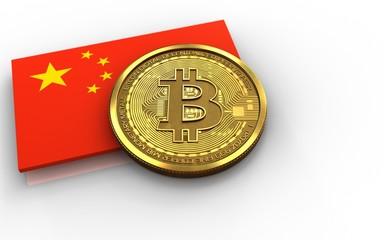 3d bitcoin china flag