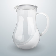 Glass decanter for water or juice.