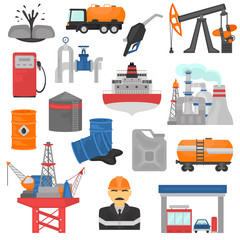 Oil and gus industry color flat icons set