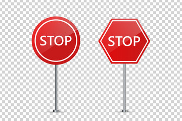 Vector set of realistic isolated street road stop signs for decoration and covering on the transparent background. Concept of road caution, traffic and logistics.