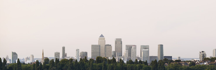 London, Canary Wharf Skyline With Tree-line  And Vanilla Summer Sky