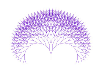 Flat Vector Computer Generated  L-system Branching Fractal  - Generative Art