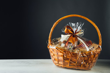 gift basket on gray background