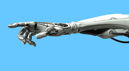 A robotic mechanical arm pointing with index finger