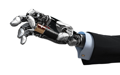 Robotic artifiicial arm holding battery with mechanical fingers