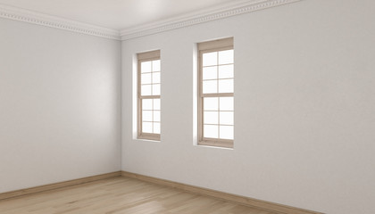 Empty Room Design with Single Hung Windows and Parquet Flooring