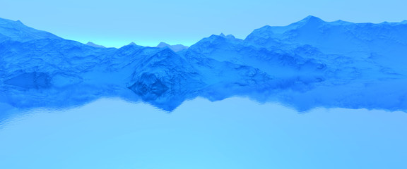 3D   Rendering Wide Blue  Evening Mountain Top Fjord Great Landscape View