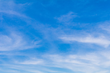 Clear blue sky background with white clouds.