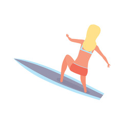 Girl, with legs in lap, rolling on waves on board.