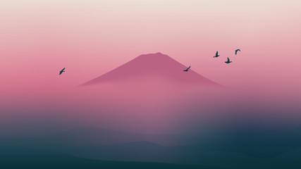 Scenic Fuji mountain of Japan with beautiful twilight sky Wall mural