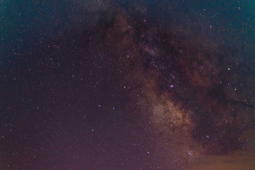 Milky Way galaxy, Long exposure photograph, with grain.Image contain certain grain or noise and soft focus.