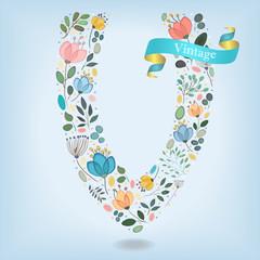 Floral Letter V with blue ribbon